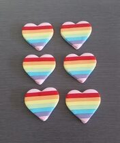Rainbow Hearts cupcake toppers